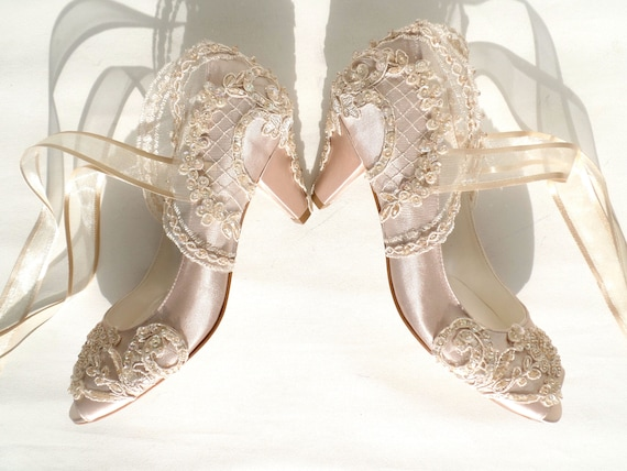 Champagne Satin Bridal Shoes with Kitten Heels