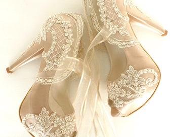 Lace Wedding Shoes, Champagne Bridal Shoes