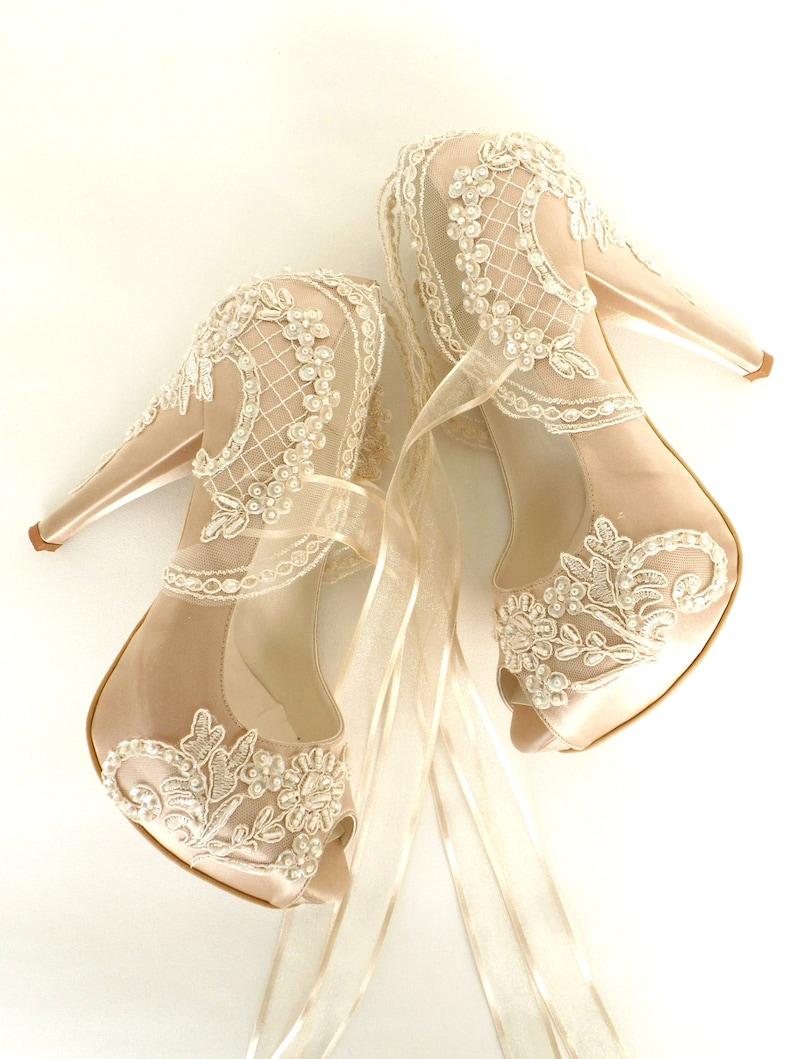 Lace Wedding Shoes Champagne Bridal Shoes image 0
