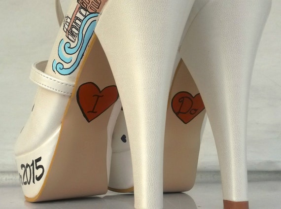 Personalized Shoes Purple Handpainted Orange Shoes Bridal Wedding rawAn1rq7