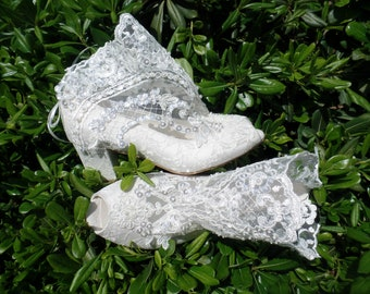 Lace Wedding Boots with Block Heels