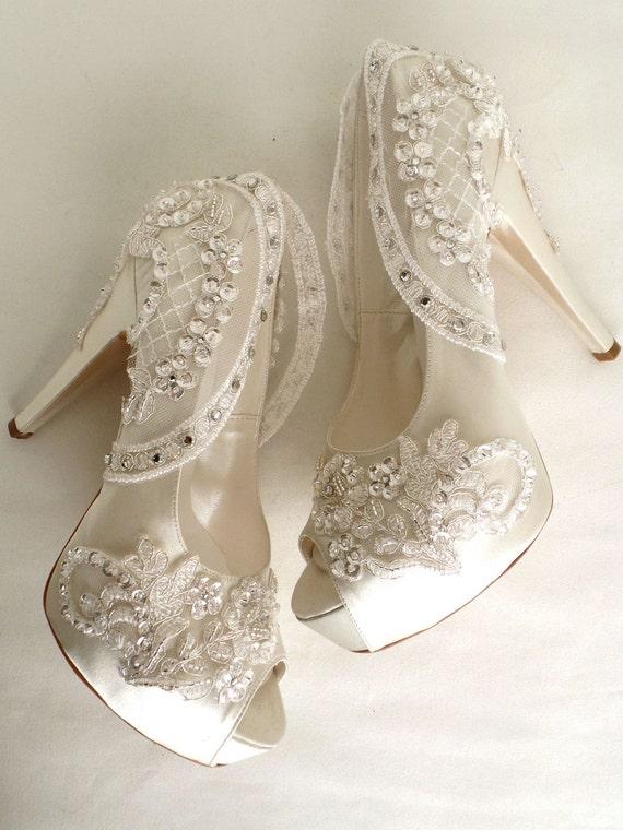 Bling Wedding Shoes, Ivory Bridal Shoes with Rhinestones