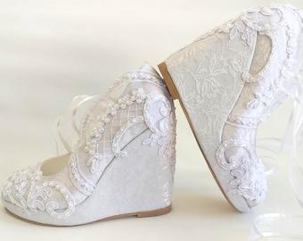 White Lace Wedding Wedges