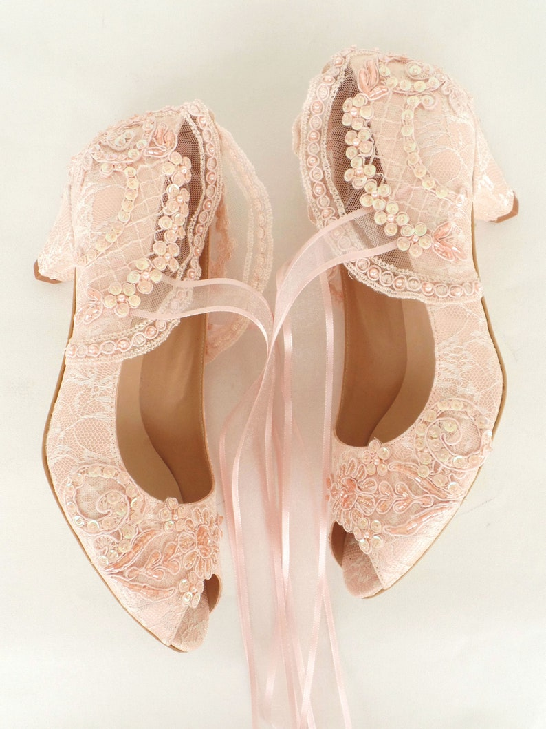 9b0d275f776 Blush Lace Wedding Shoes with Low Heels