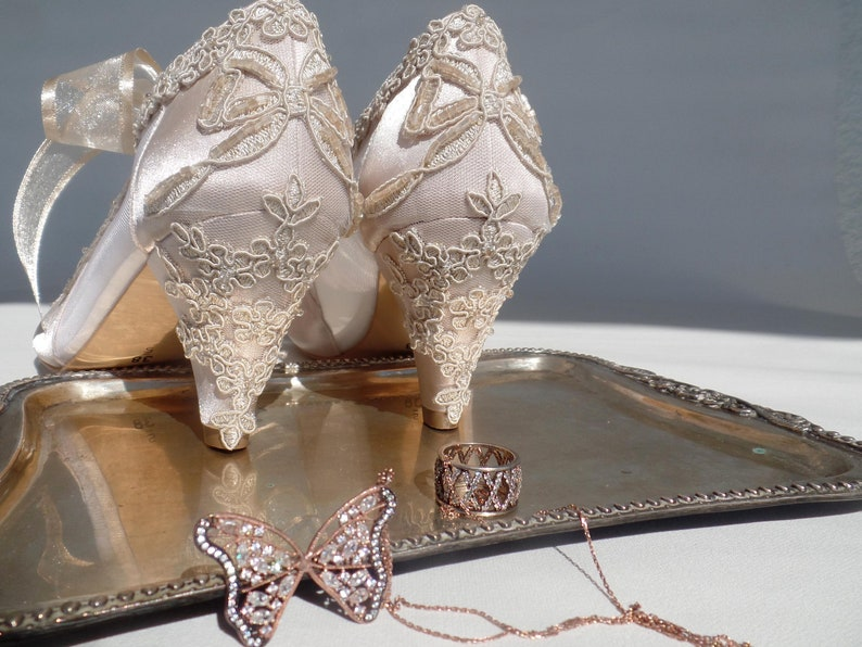 b26960e923e6b7 Champagne and Sheer Wedding Shoes with Low Heels