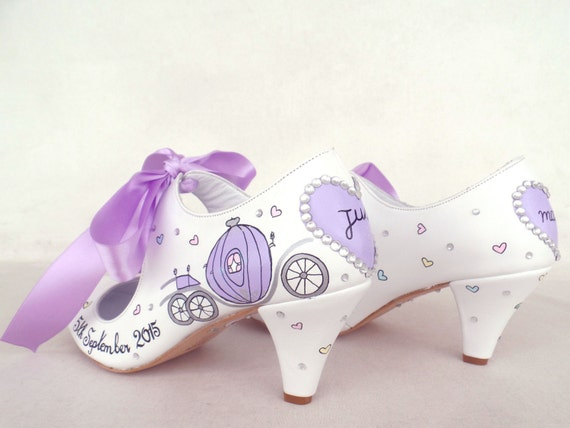 Wedding Bride Custom painted Shoes Lilac Tale Bridal for Fairy Shoes Hand 6BxdFqSBw