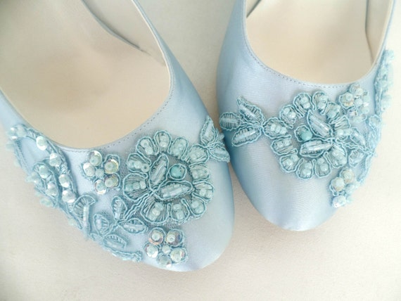 a86d7fe20dc767 Baby Blue Lace Embellished Wedding Shoes
