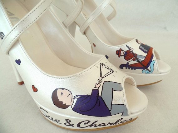 Shoes Personalized Handpainted Shoes Bridal Wedding Orange Purple z0xOwqOfnH