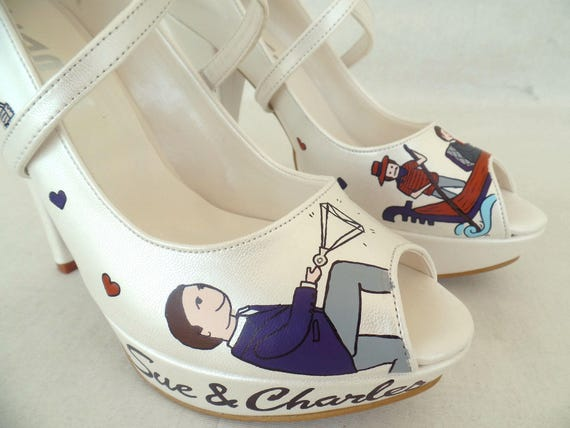 Bridal Personalized Shoes Handpainted Shoes Wedding Orange Purple wwCqF4
