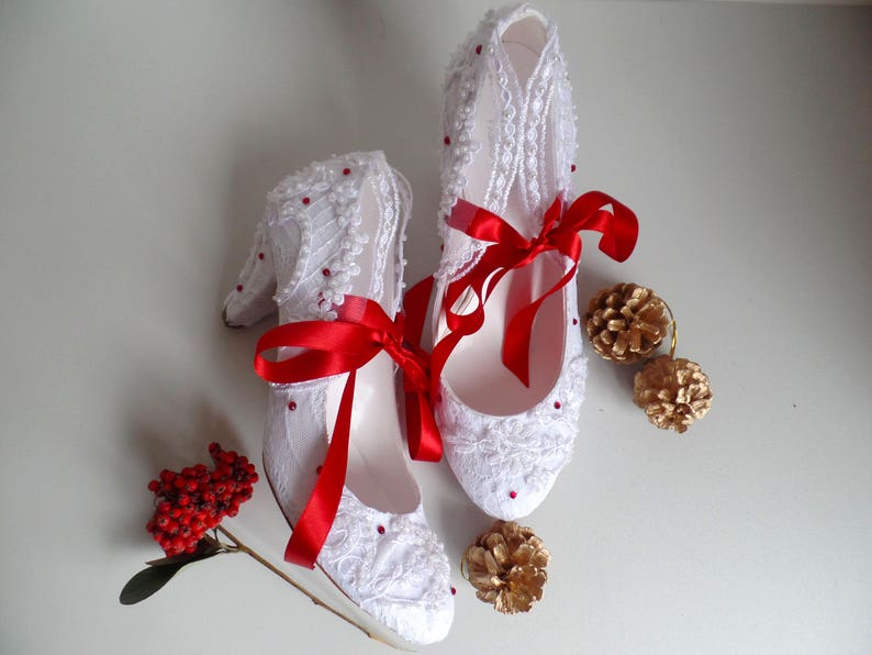 dbfc9198c6c White Lace Wedding Shoes with Red Ribbons and Rhinestones
