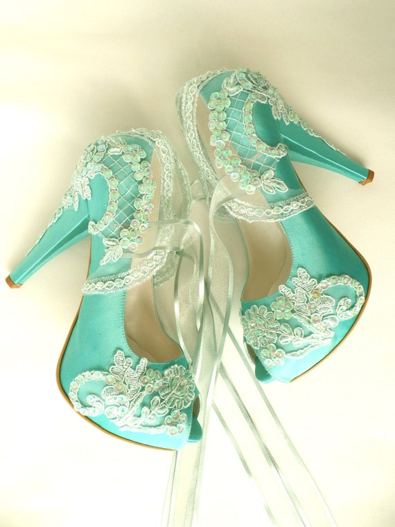 8815663c3a192f Lace Wedding Shoes Mint Green Satin Bridal Shoes