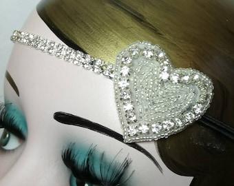 Great Gatsby Flapper Wedding Headband Vintage inspired 20s Beaded Charleston Downton Abbey Mod Art Deco New Hand Made