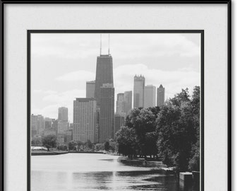 Lincoln Park Lagoon - Chicago Neighborhood - Black and White Picture, Photo, Image, Print