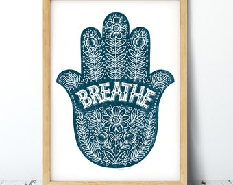 Breathe Yoga Hand Print