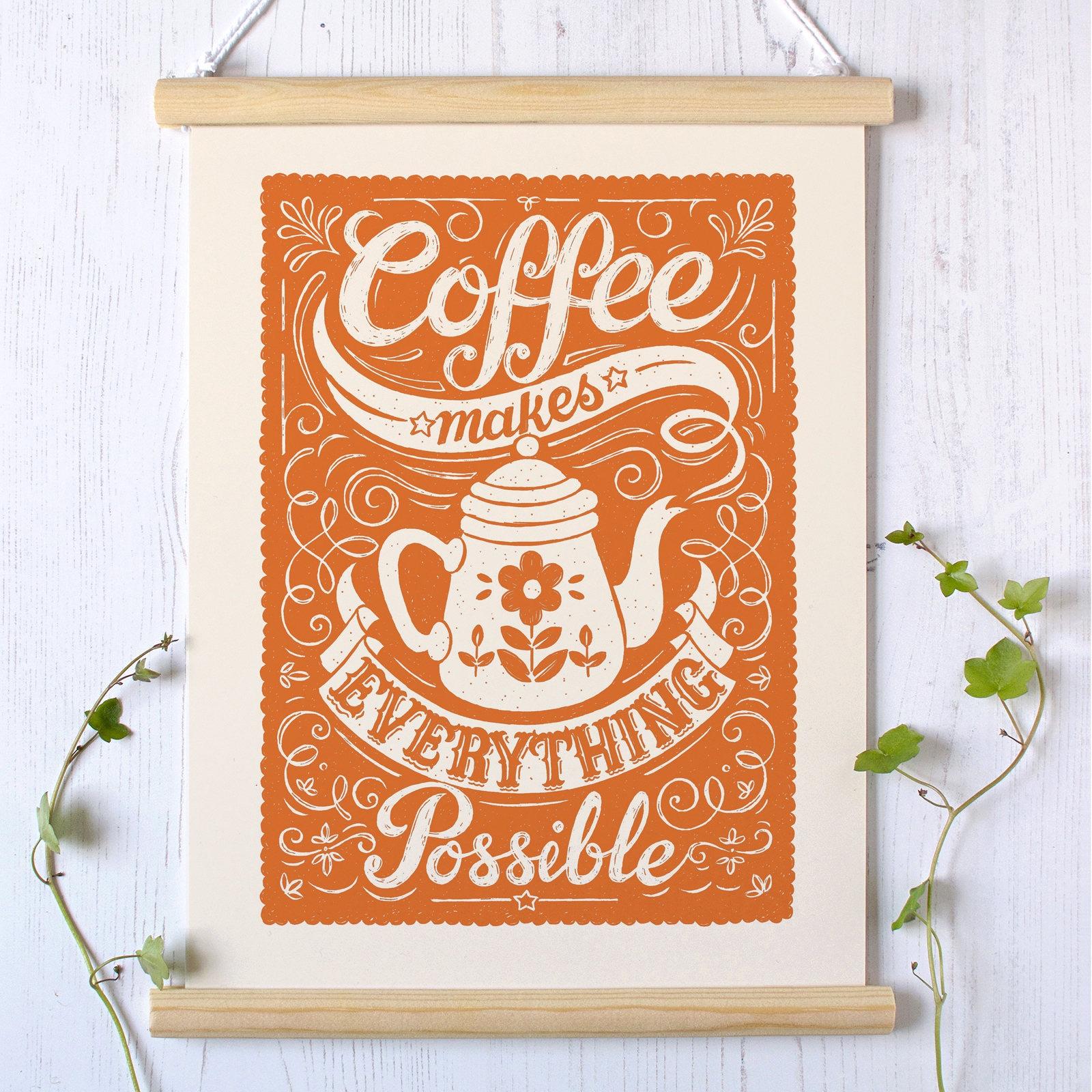 Kaffee Druck Kaffee-Design Cafe-Wand-Kunst Kaffee Küche