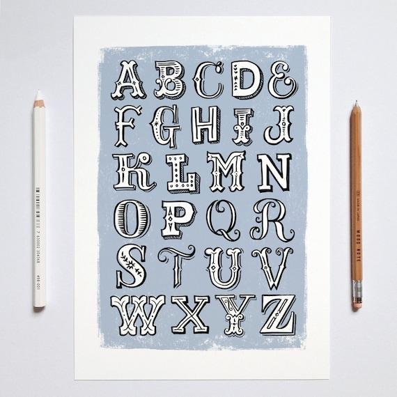 à La Main En Lettres Alphabet Imprimer Alphabet Imprimer Impression De Chambre Pour Enfants Les Enfants Chambre Impression Impression De La