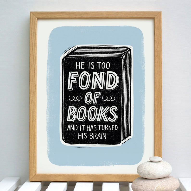 Men's Book Print  Men's Book Gift  Men's Reading (A3 approx) 30 x 40 cm