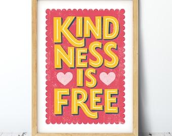 Kindness Typographic Print
