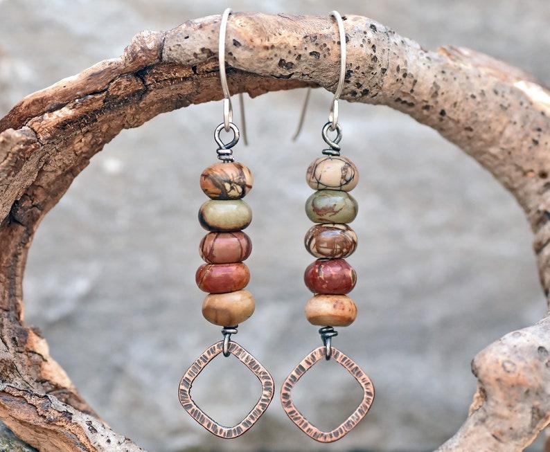 Natural Gemstone Copper Jewelry Earthy Fall Color Red Creek Jasper Earrings Rustic Mixed Metal Dangles
