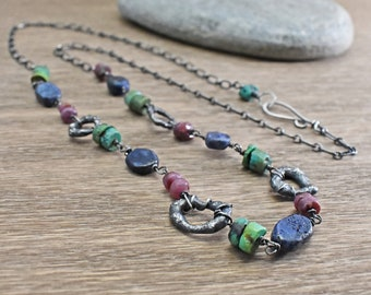 Long Gemstone Necklace Rustic Sterling Silver Necklace Lapis Ruby Turquoise Jewelry Artisan Gemstone Necklace Long Colorful Artisan Jewelry