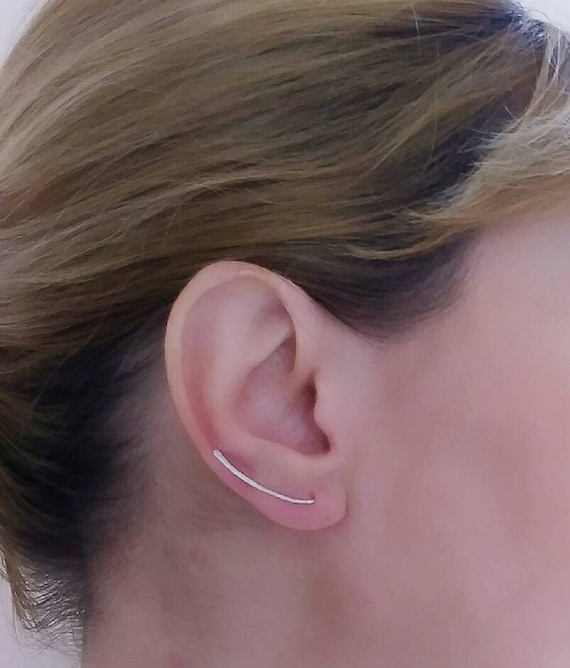 Sterling Silver Climber Ear Climber Earrings Dainty Jewerly Simple Jewerly Dainty Jewelry Hammered Earrings
