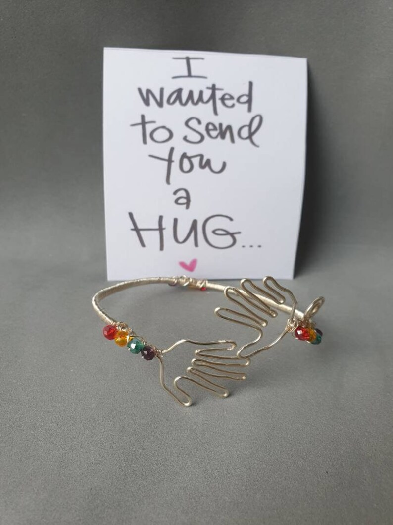 Hug Bracelet Positivity Gift Friendship Anniversary gifts Wire wrapped jewelry Adjustable bracelet Rainbow gift Distancing Support Hug