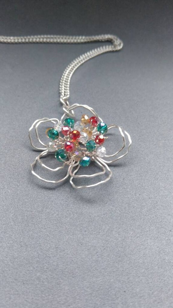 Silver Flower Pendant Wire Wrapped Flower