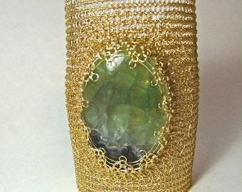 Fluorite Bracelet Gold cuff bracelet Crystal bracelet Gemstone jewelry Crochet jewelry Wire Woven Wide bracelet Statement Healing bracelet