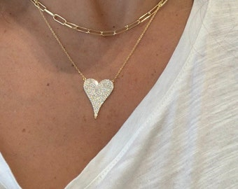 Heart with CZ Pendant necklace  Sterling Silver Pendant /& Chain Inspirational GiftBridesmaid JewelryChristmas GiftGift for Friends