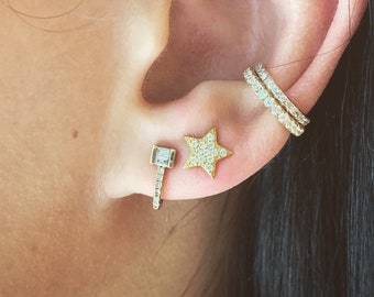 ff2d386d1 Gold 14k gold and silver ear cuff /wrap climber /gold white /rose/ cuff  earring cuff dainty earring - pave stones sterling silver cz