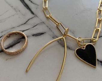 Wishbone big charm 14k over sterling -charm • WIDE opening • Charm - one  charm per order - no chain