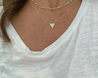 Chain and heart • Pave diamond heart small size - 1cm - necklace , W/ GOLD LINK CHAIN- combo  14k over sterling with gold vermeil-