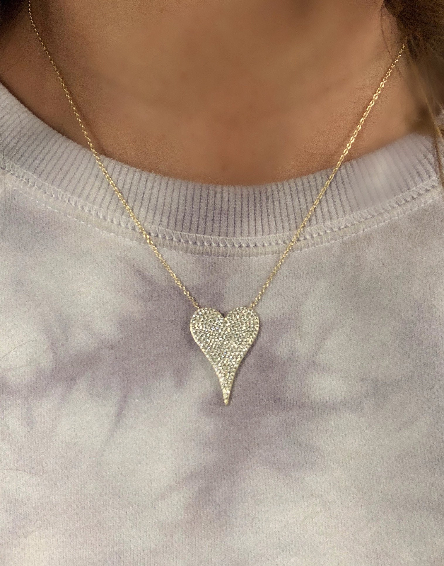 Pave cz heart necklace \u2022 birthday gift \u2022Mother\u2019s Day\u2022 elongated diamond heart\u2022 cz heart \u2022 love necklace \u2022 16-18 in