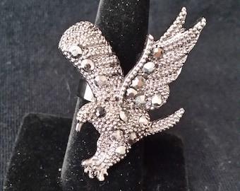Metal Eagle Ring Rhinestone Detail Gun Metal Grey