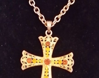 Vintage Cross Necklace- Amber Rhinestones