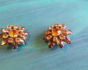 Vintage Amber Rhinestone Clip On Earrings