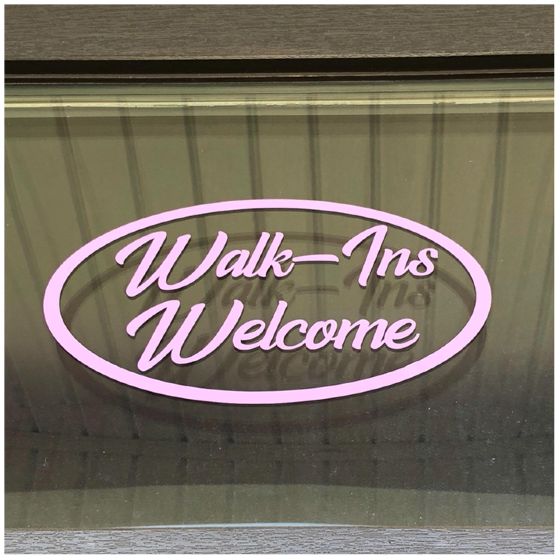 Walk ins welcome business door decal custom office door vinyl decal perfect for store or business glass doors sign entrance