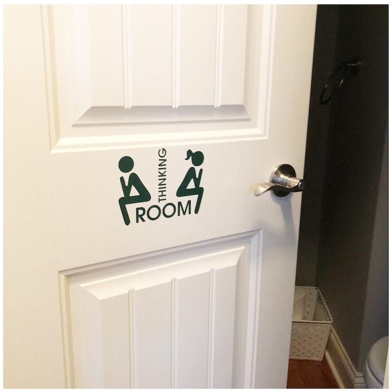 . Funny Bathroom Door Sign   Men s Bathroom Decal   Women Bathroom Vinyl    Thinking Room Decal   Office Gift Exchange   Restroom Door Sticker
