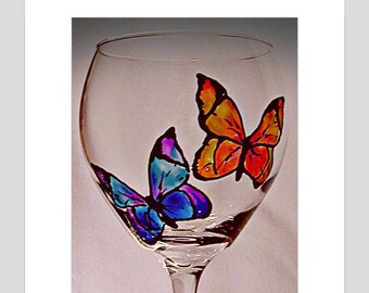 Butterfly Wine Glass Hand Painted Glass Butterfly Kisses Wife Gift Girlfriend Gift Wine Lover Bridesmaid Birthday Christmas Gift Holiday