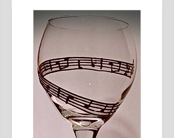 Musical Notes  hand painted  Wine Glass, Music teacher gift,Personalized music teacher gift,Sheet music art, Music wine Glass,Music Note Art