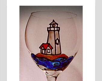 Lighthouse wine glass stained glass lighthouse home decor beach decor sea glass nautical decor beach housewarming gift for her gift for him