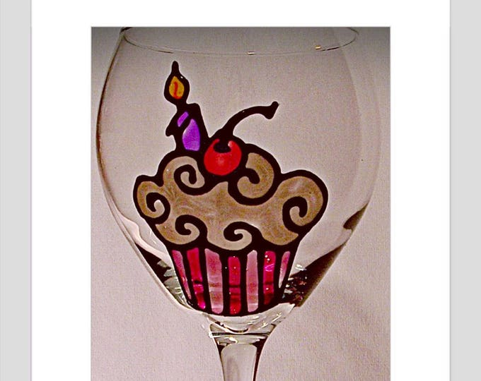 21st Birthday Cupcake Glass 25th 50th anniversary Birthday Wine Glass Birthday Gift Gift for mom gift for him anniversary gift gift for her