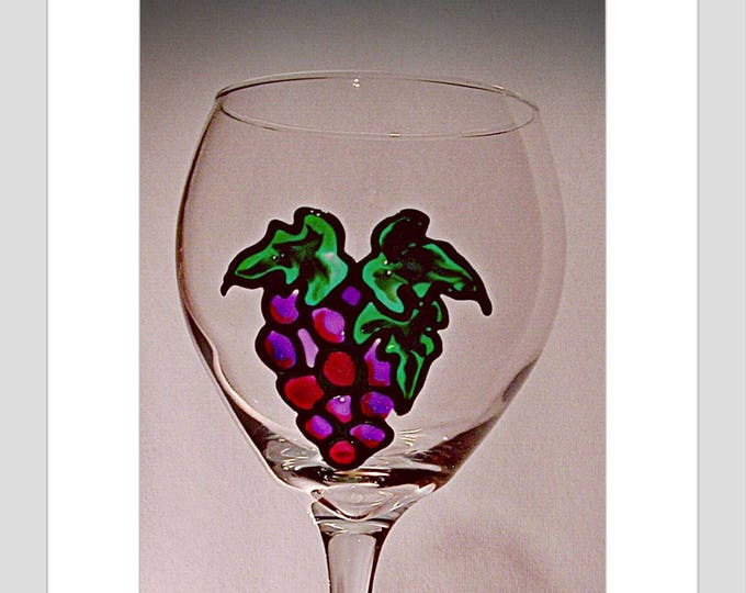 Grapes hand painted wine glass, Stained Glass Grapes, Hand painted 20 oz Wine Glass Country kitchen, Vineyard wedding, Wine lover gift,