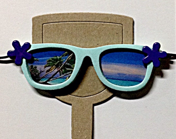 Turquoise Sunglasses for Wine Glasses Funny Wine Charms Cute Wine Charm tropical scene bridesmaid gift for her bridal shower party favor