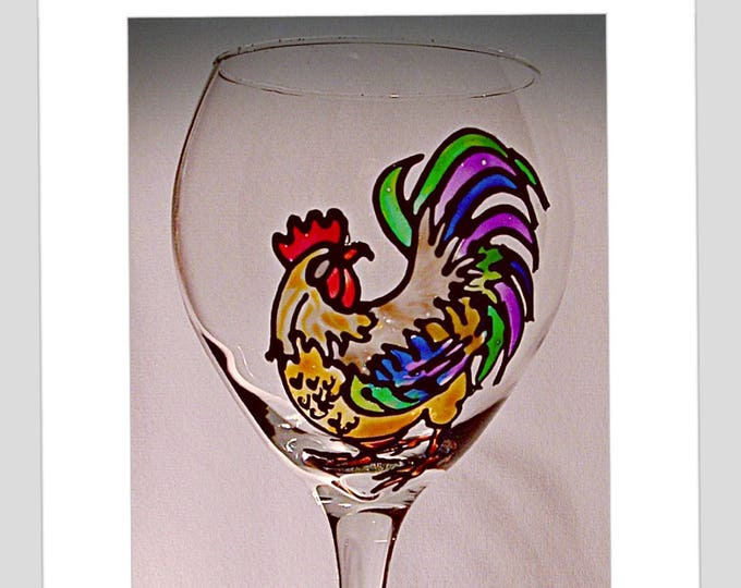 Rooster Wine Glass Farmhouse decor stained glass rooster country kitchen Chicken Gift Rooster Gift under 25 Chicken lover gift for her