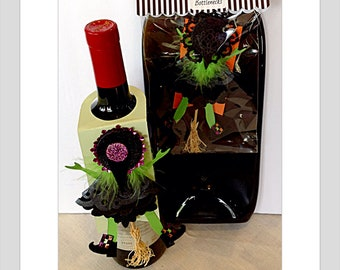 Halloween Card Witch gift tag Flying Witch hitting door funny gift card wine bottle card Bottle gift tag Halloween Birthday Gift for her
