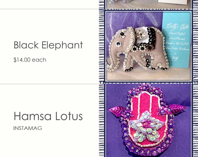 Elephant Ornament Baby First Christmas Elephant Baby Shower Elephant Sculpture  Hamsa Yoga Gifts Lotus flower First Christmas Gift for her