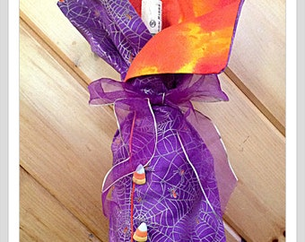 Golden spider Web  Candy Corn wine bag cover. Funny Halloween Gift Funny gift for her funny wine bag Hostess  gift  halloween  birthday gift