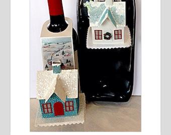 Glitter house gift glitter house wine tag Christmas ornament beer bottle tag Christmas gift tag House gift tag Housewarming New home card