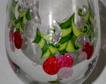 Retro Holly Dot Wine glass or Flute